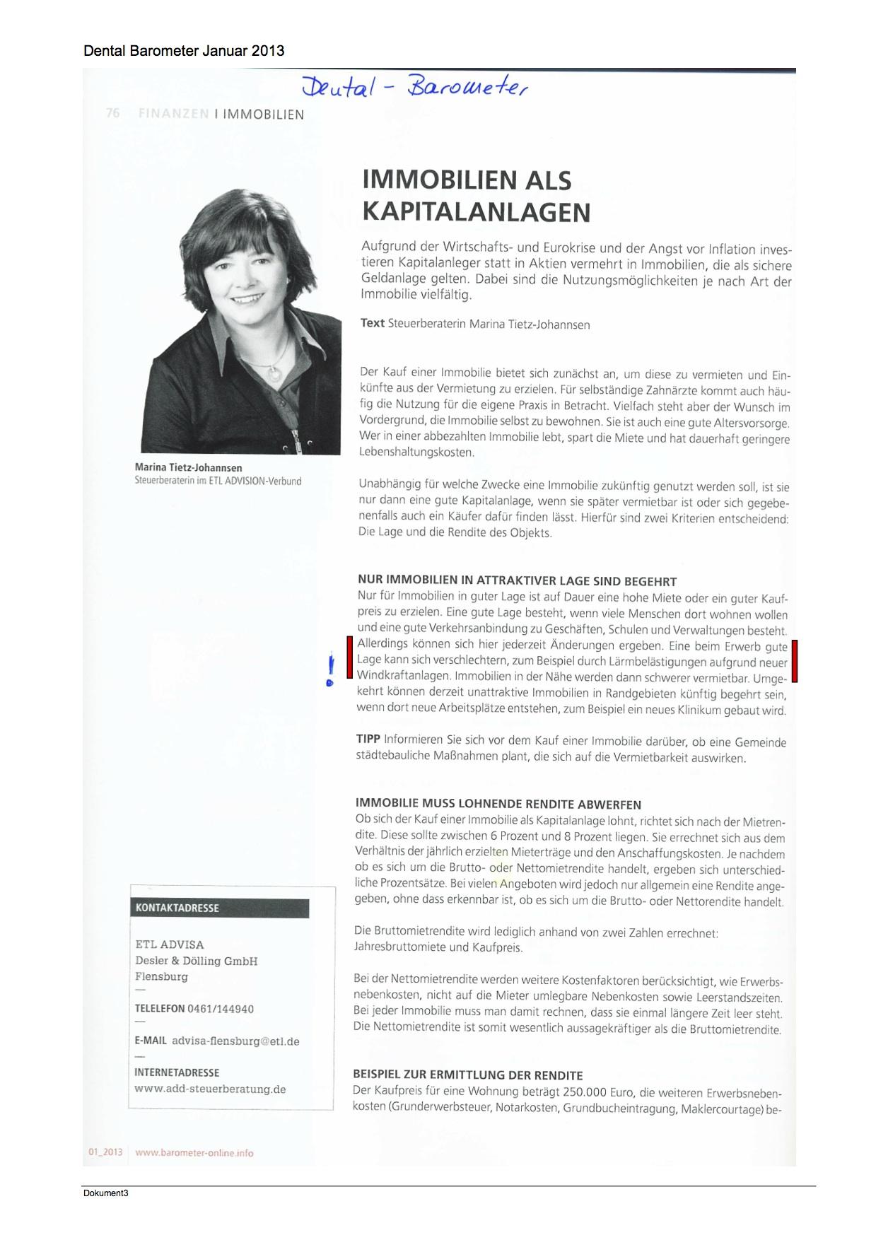 2013.01-Dental Barometer-Immobilien als Kapitalanlage