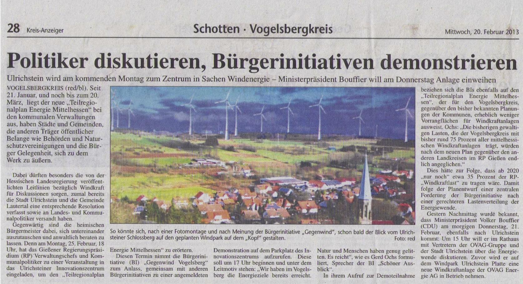 Ankündigung der Windwahn-Demo in Ulrichstein am 25.02.2013 im Kreisanzeiger - kein weiterer Windpark mehr!