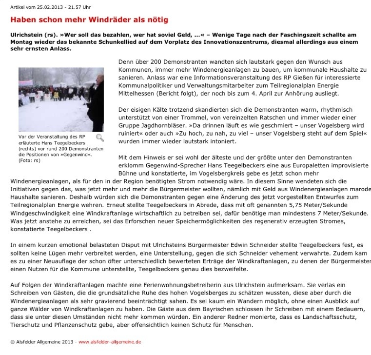 Alsfelder Allgemeine zur Anti-Windpark-Demo in Ulrichstein am 25.02.2013
