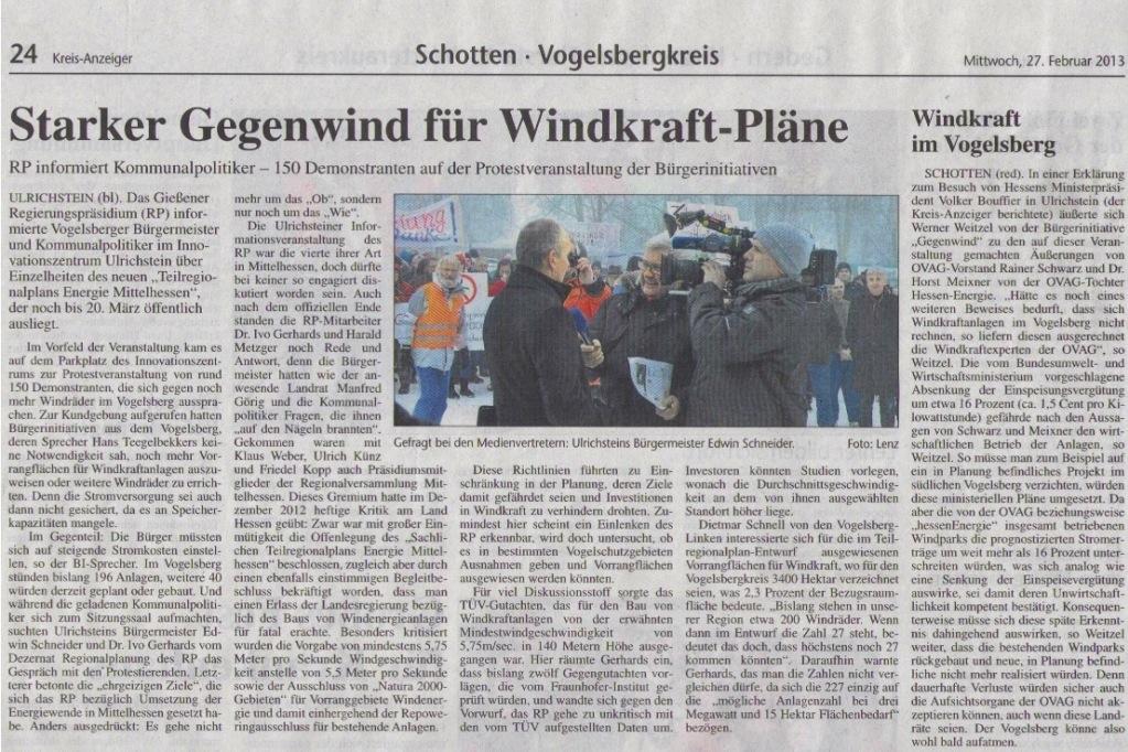 Kreisanzeiger zur Anti-Windkraft-Demo in Ulrichstein am 25.02.2013, Windpark über alles?