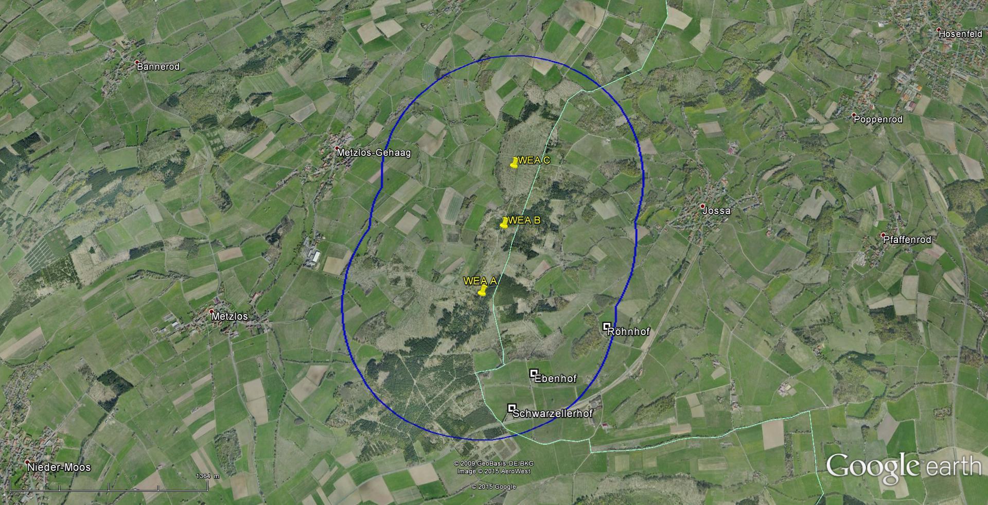 Vor ca. zwei Jahren wurden vom Betreiber hessenENERGIE avifaunistische Gutachten in Auftrag gegeben und Ende März 2015 wurde dieser Genehmigungsantrag von acht (8) auf drei (3) Anlagen reduziert. Inzwischen sind die Planungen wohl ganz vom Tisch. Werschbach, Metzlos-Gehaag (Grebenhain im Vogelsbergreis, RP Mittelhessen), Jossa (Hosenfeld, Kreis Fulda, RP Nordhessen)