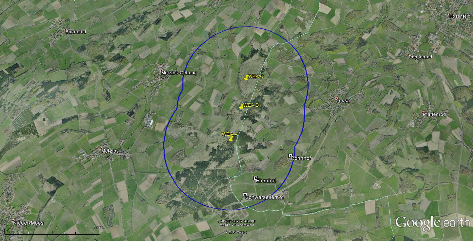 WKA Planung Werschbach - Quelle Karte: Google Earth