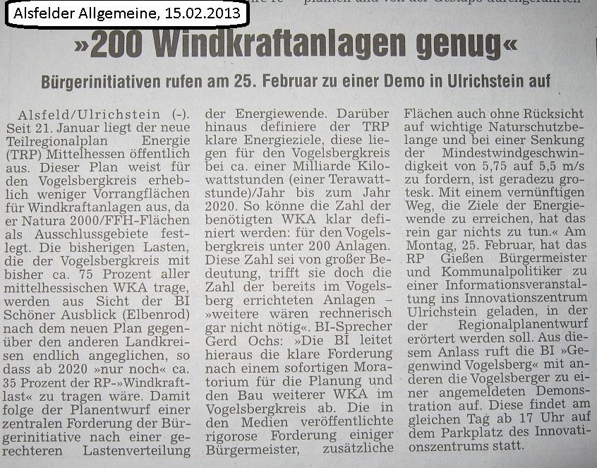 Alsfelder Allgemeine: Ankündigung der Demo in Ulrichstein am 25.02.2013 - wir wollen keinen weiteren Windpark mehr. Hessenenergie und Ovag haben abgewirtschaftet.