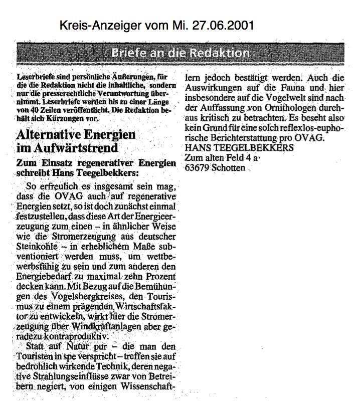 2001.06.27-KA-Schotten-Leserbrief Hans zu Erneuerbaren Energien