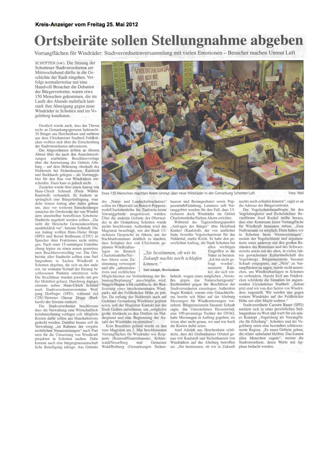 Bericht von der historischen Stadtverordnetensitzung vom 2012-05-23, auf der sich die Bürgerinnen und Bürger massiv gegen die Windkraftpläne der Stadt Schotten und Bürgermeisterin Susanne Schaab wehrten