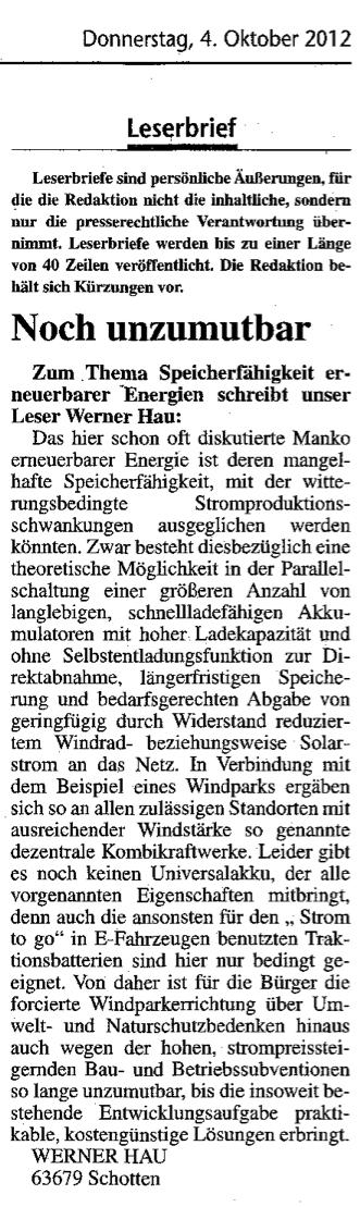 2012.10.04-KA-Schotten-Leserbrief Werner Hau-Noch unzumutbar
