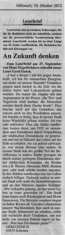 2012.10.10-KA-Schotten-Leserbrief Gerd Essich-An Zukunft denken