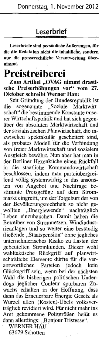 2012.11.01-KA-Schotten-Leserbrief Werner Hau-Preistreiberei