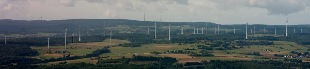 Windpark Panorama Ulrichstein Richtung Hoherodskopf, Vogelsberg, Hessen