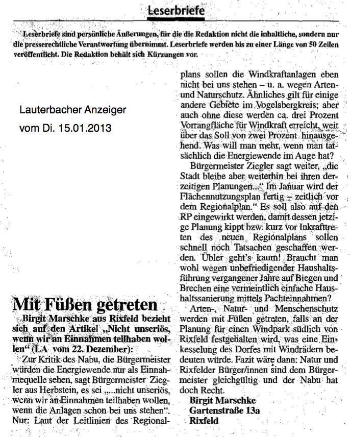 2013.01.15-LA-Leserbrief Birgit Marschke Rixfeld