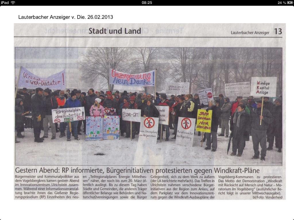 Demo in Ulrichstein, Lauterbacher Anzeiger vom 26.02.2013