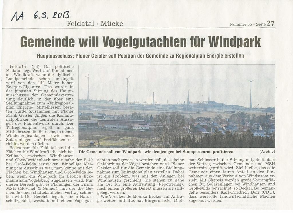 Mit aller macht will die Gemeinde Ulrichstein, Helpershain und Stumpertenrod mit noch mehr Windkraft beglücken, wie wir in der Alsfelder Allgemeinen lesen können.