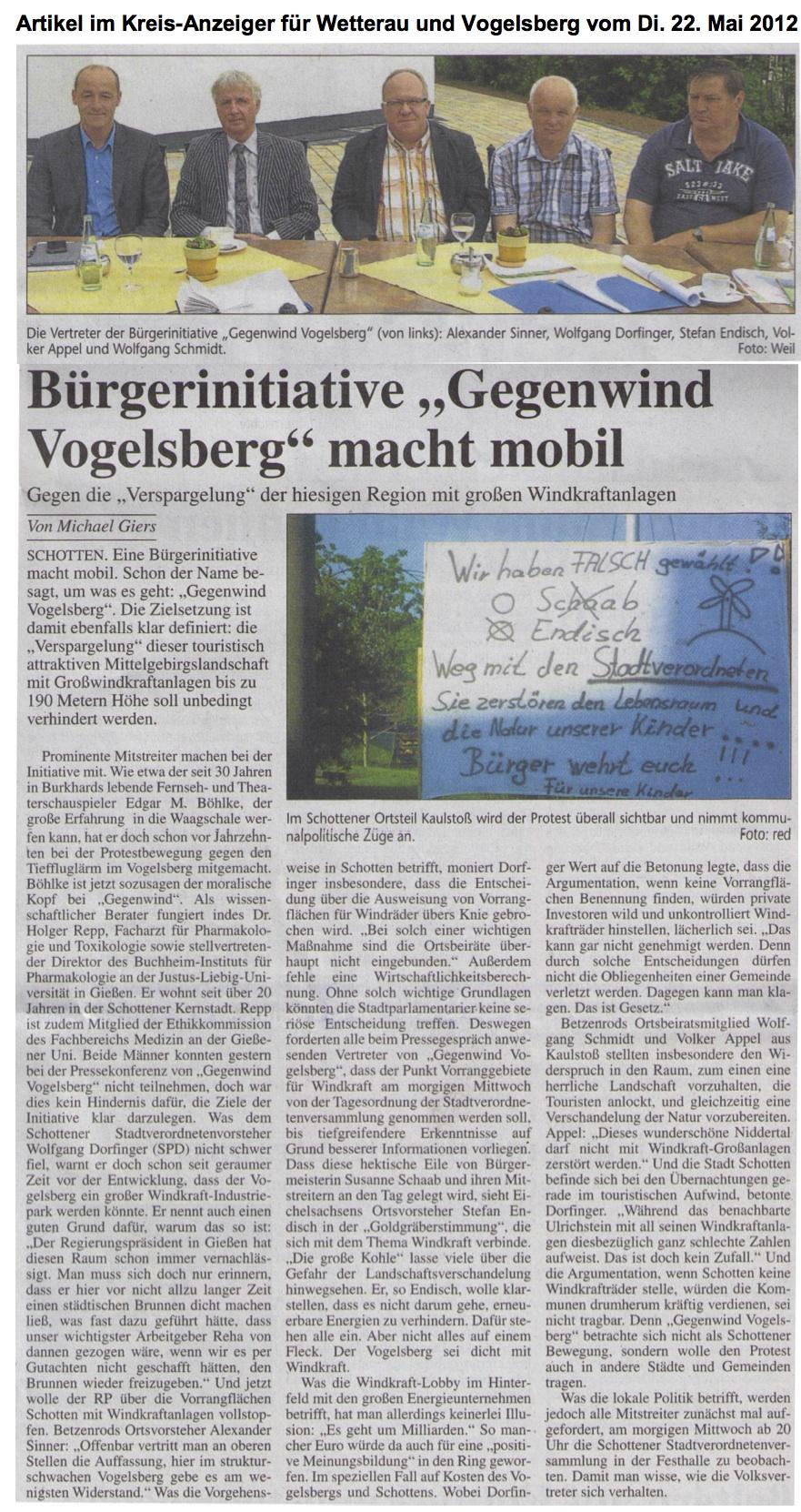 Gründung der BI GwVB um Windkraftpläne im Vogelsbergkreis zu stoppen