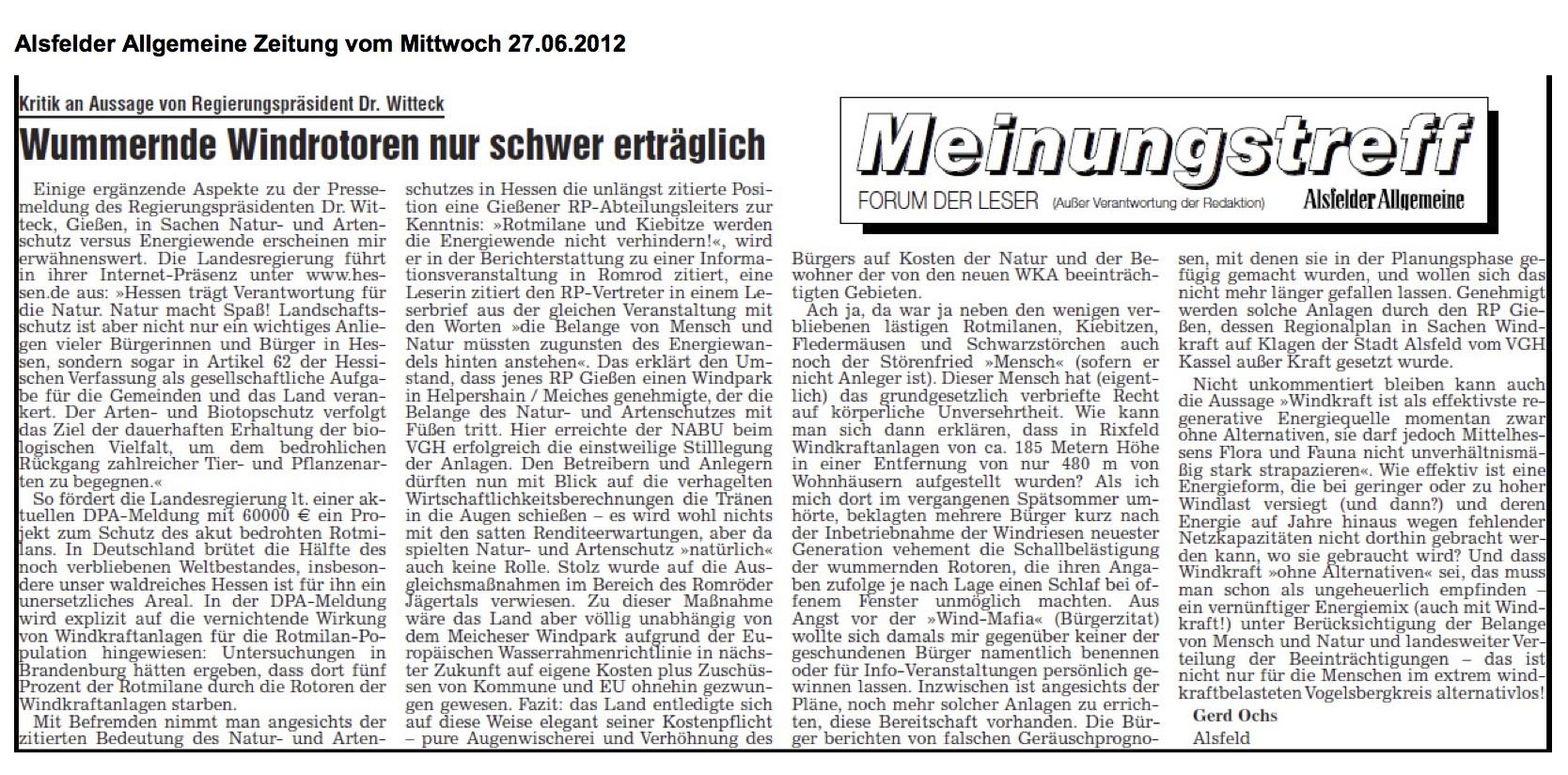Leserbrief Gerd Ochs