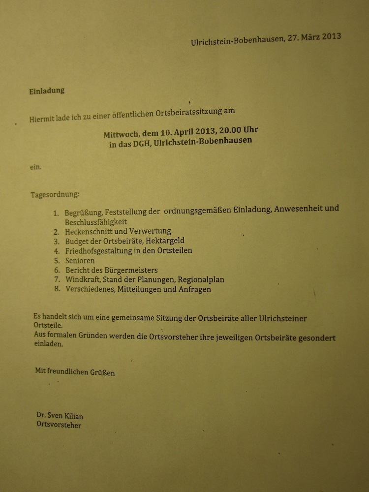 Einladung aller Ulrichsteiner Ortsbeiräte zu einer gemeinsamen öffentlichen Ortsbeiratssitzung in Bobenhausen II. Das Thema Windkraft steht auch auf der Tagesordnung. Ulrichstein, Windpark
