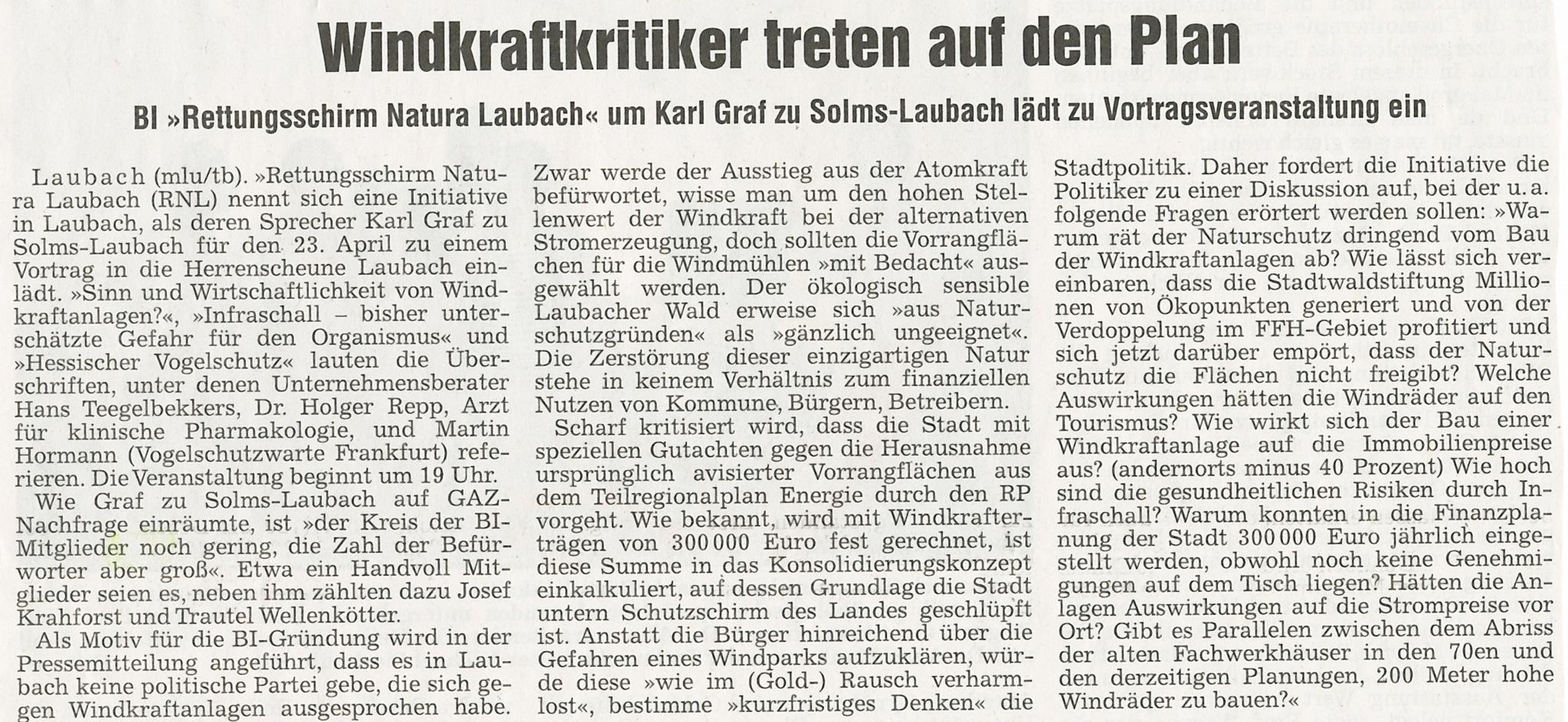 Einladung Infoveranstaltung am 23.04.2013 in Laubach