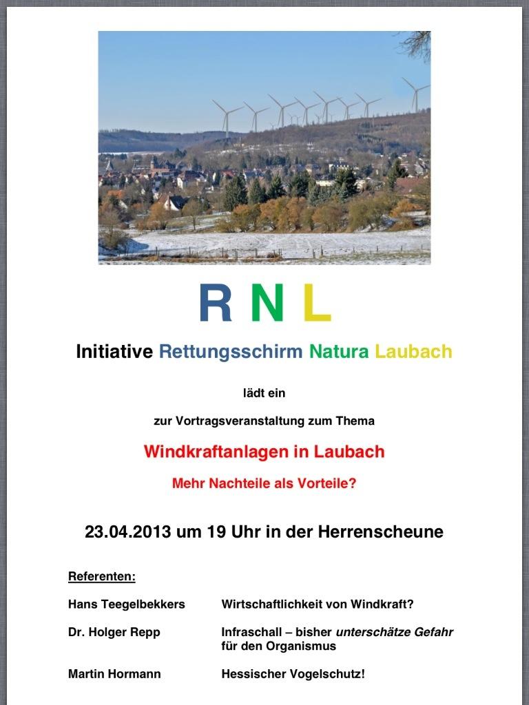 Einladung zur Infoveranstaltung Rettungsschirm Natura Laubach am 23.04.2013 in Laubach in der Herrenscheune