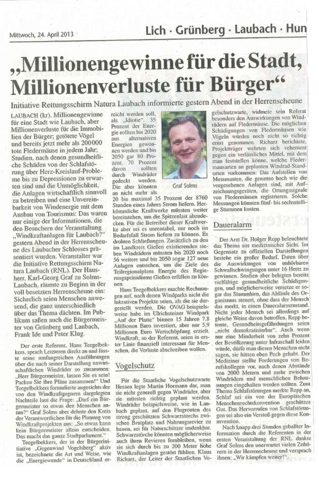 Gießener Anzeiger: Laubach - Millionengewinne für die Stadt, Millionenverluste für die Bürger - Karl zu Solms