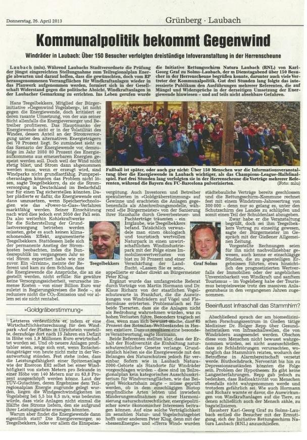 Informationsveranstaltung über Nachteile der Windkraft und die Planungen in der Gemeinde. Über 150 Besucher verfolgten die dreistündige Veranstaltung mit Graf zu Solms, Hans Teegelbekkers und anderen in der Herrenscheune in 35321 Laubach.