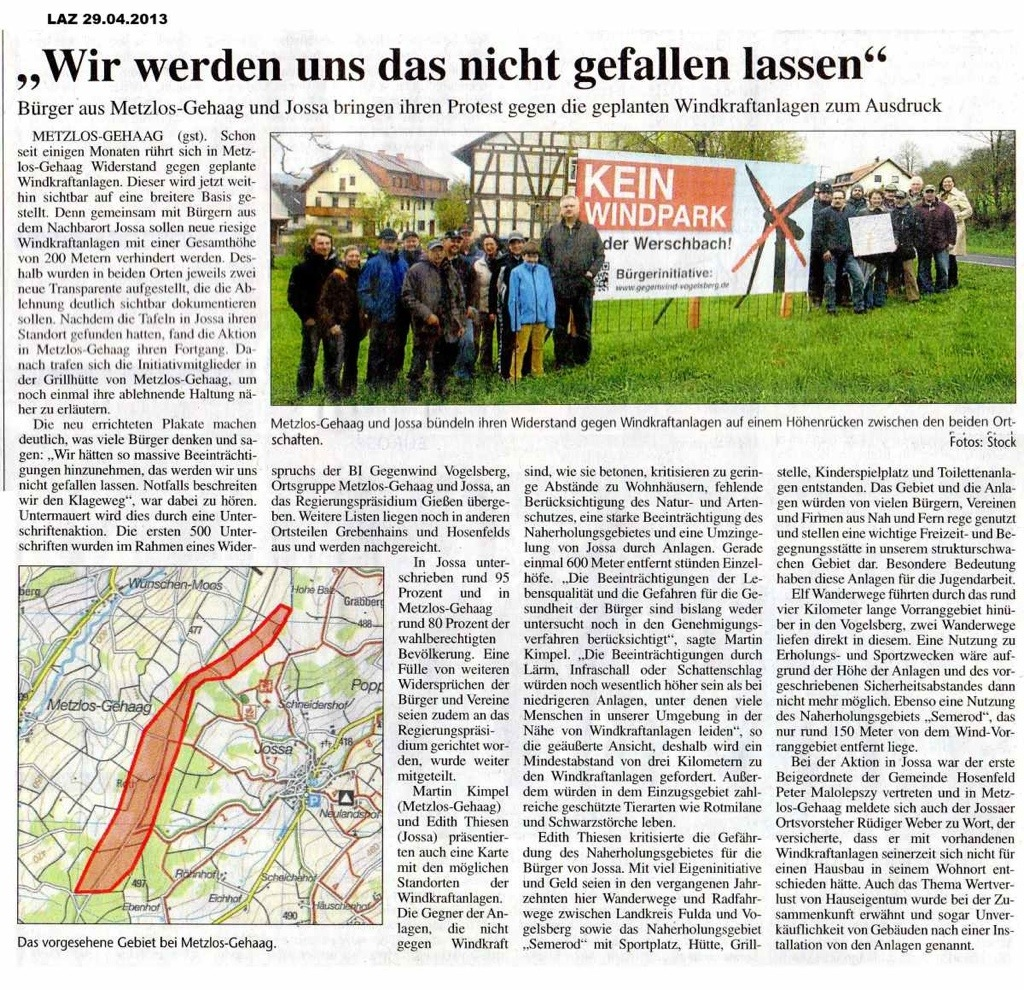 Großer Artikel im Lauterbacher Anzeiger: BI Werschbach mit Metzlos-Gehaag (Grebenhain, Vogelsbergkreis, Mittelhessen) und Jossa (Hosenfeld, Kreis Fulda, Nordhessen)