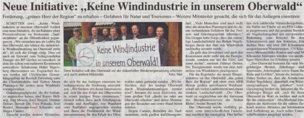 """BI Oberwald: Keine Windindustrie in unserem Oberwald (Kreisanzeiger vom 03.05.2013). Die neu gegründete Bürgerinitiative lehnt den """"Windpark"""" Zwirnberg zwischen Ulrichstein-Feldkrücken, Hoherodskopf und Rudingshain ab"""