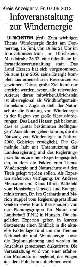 Aufruf Infoveranstaltung Windenergie in Ulrichstein im Kreisanzeiger vom 07.06.2013