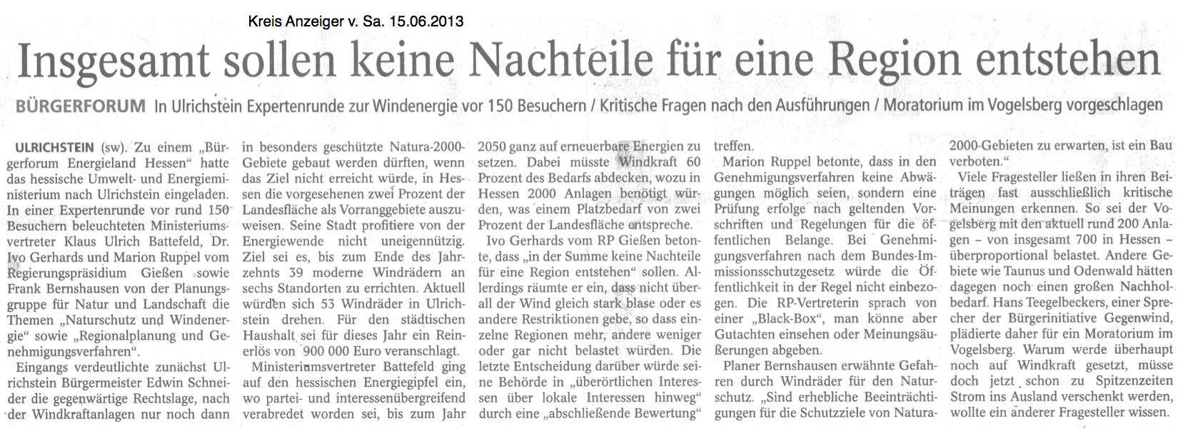 """Der Kreisanzeiger vom 15.06.2013 zum """"Bürgerforum Energieland Hessen"""" in Ulrichstein - Grünsprech für die neue Windpark-Welt"""