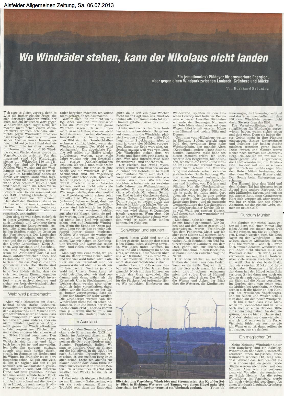 Seenbachtal: Wo Windräder stehen, kann der Nikolaus nicht landen, Alsfelder Allgemeine 06.07.2013 - von Burkhard Bräuning
