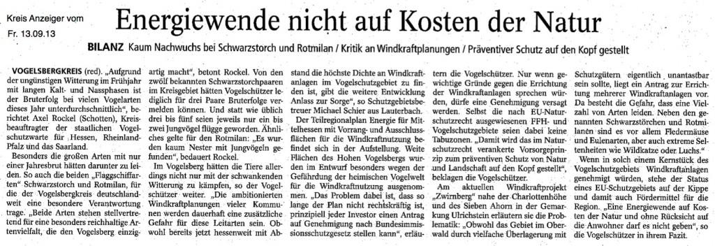 Kreisanzeiger vom 13.09.2013 - Energiewende nicht auf Kosten der Natur - Kaum Nachwuchs bei Schwarzstorch und Rotmilan