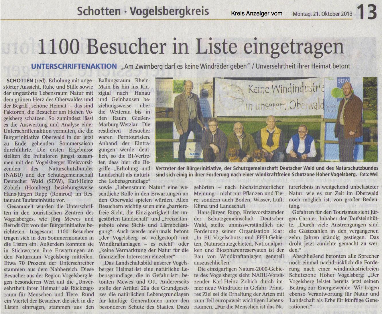 Kreisanzeiger: Am Zwirnberg darf es keine Windkraft geben - 1100 Besucher in Liste eingetragen