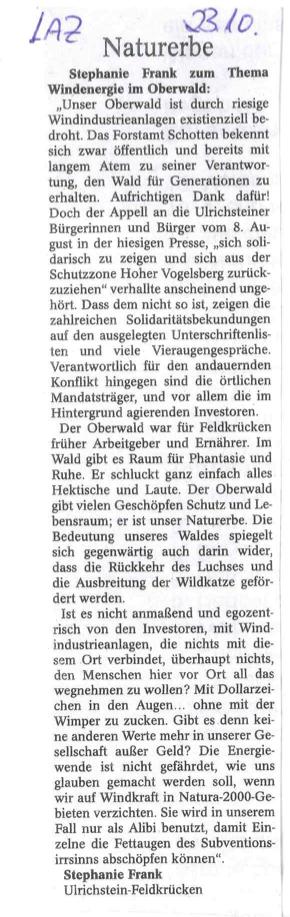 Leserbrief aus Feldkrücken zur geplanten Windfarm im Oberwald