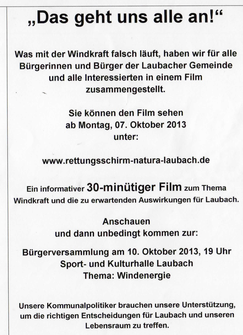 """Bürgerversammlung Laubach - """"Das geht uns alle an"""""""