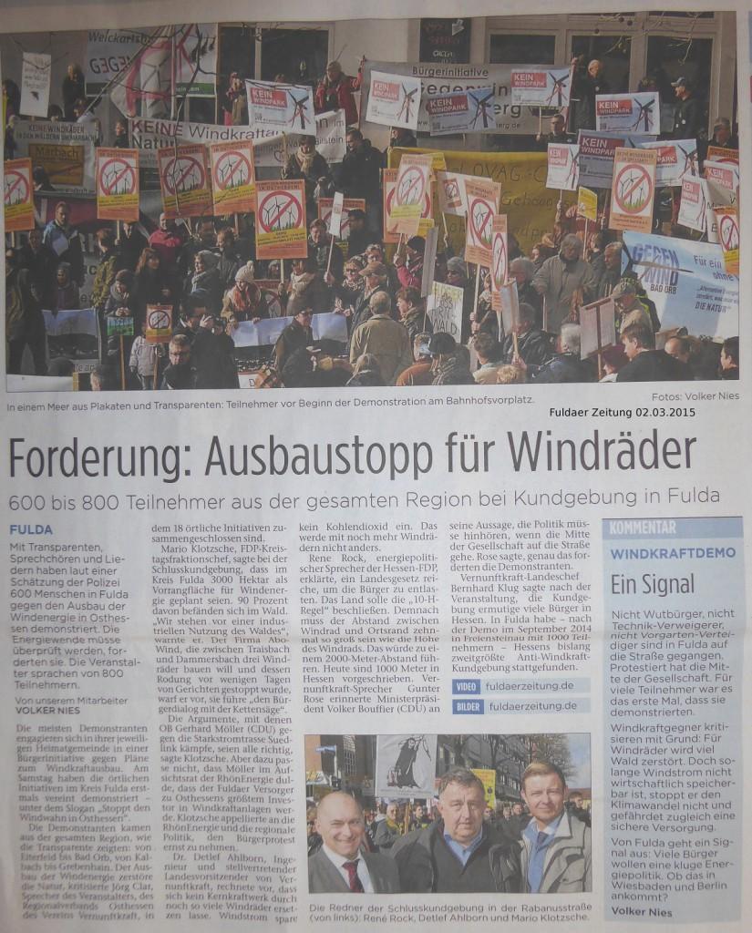 Anti-Windkraft Demo in Fulda im März 2015 (Quelle: Fuldaer Zeitung vom 2015-03-02)