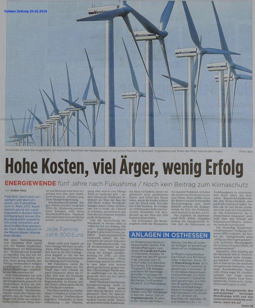 Fuldaer Zeitung - Energiewende viel zu teuer