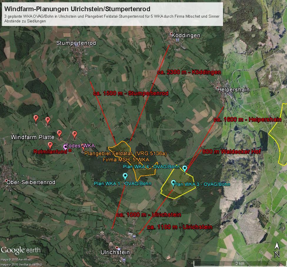 Karte mit geplanten Windkraftanlagen und Abständen zu Siedlungen - zum Vergrößern bitte anklicken