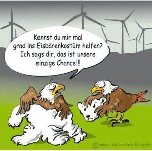 Rotmilan im Eisbärkostüm - Beim NABU haben Greifvögel scheinbar schlechte Karten - Illustration Jeanne Kloepfer