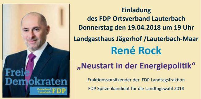 """2018-04-19 FDP Lauterbach - Veranstaltungen """"Neustart der Energiepolitik"""" mit René Rock im Jägerhof 36341 LAT-Maar um 19 Uhr. Das EEG und die Windkraft müssen gestoppt werden. Zeigt Leopold Bach (auch FDP Vogelsberg!), dass ihr keine Windkraft am Eckmannshain nördlich von Ulrichstein wollt!"""