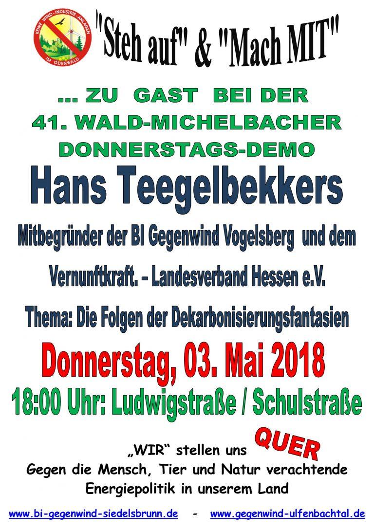 Hans Tegelbekkers bei 41. Donnerstagsdemo in Wald-Michelbach am 03.05.2018