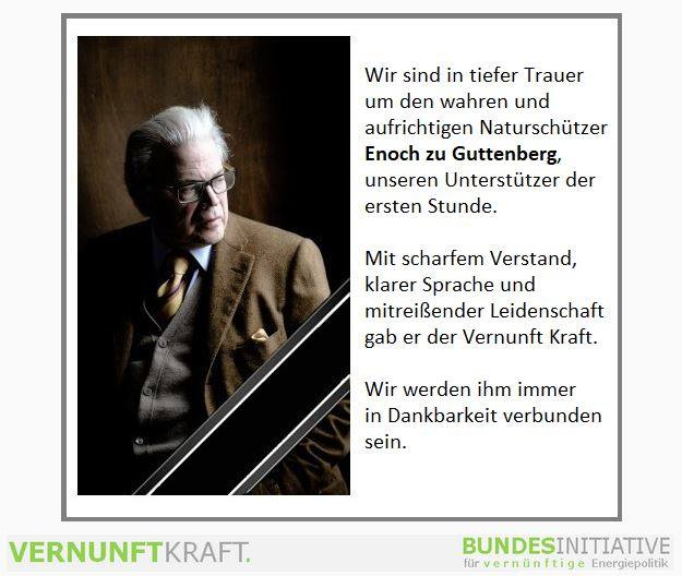 Traueranzeige zum Tod von Enoch zu Guttenberg am 15.06.2018, Vernunftkraft Deutschland e. V.