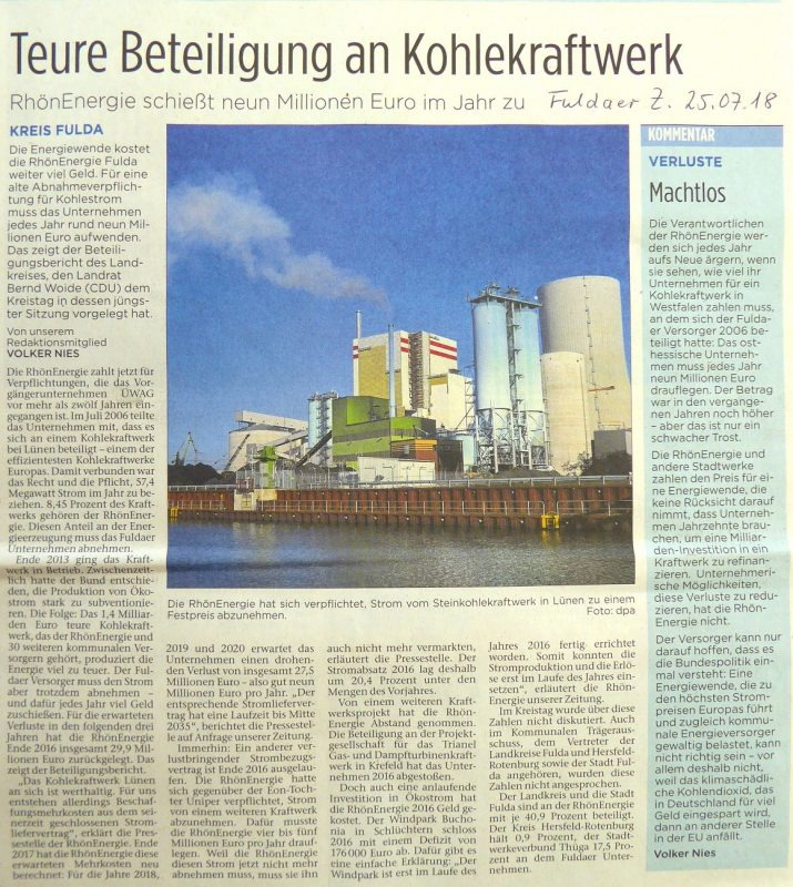 Teure Beteiligung an Kohlekraftwerk - RhönEnergie schießt neun Millionen Euro im Jahr zu - Fuldaer Zeitung vom 2018-07-25