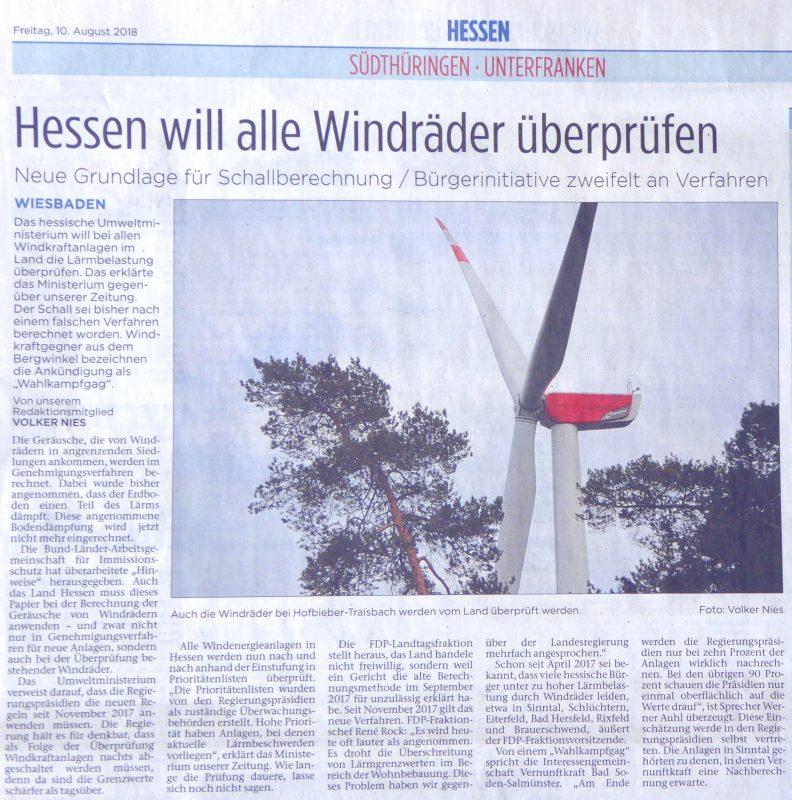 Hessen will alle Windräder überprüfen - Fuldaer Zeitung (und Kinzig Nachrichten) vom 2018-08-10