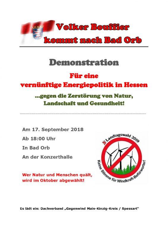 2018-09-17: Demo: Volker Bouffier kommt nach Bad Orb