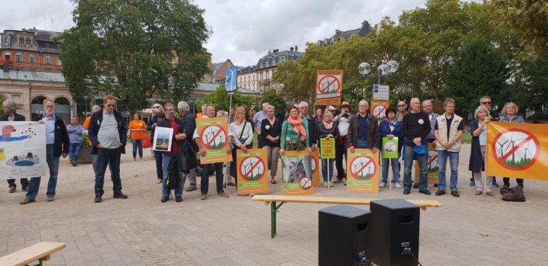 Anti-Windkraft-Demo Wiesbaden, September 2018 (Foto: Gegenwind Vogelsberg, Gruppen Ulrichstein und Stumpertenrod)