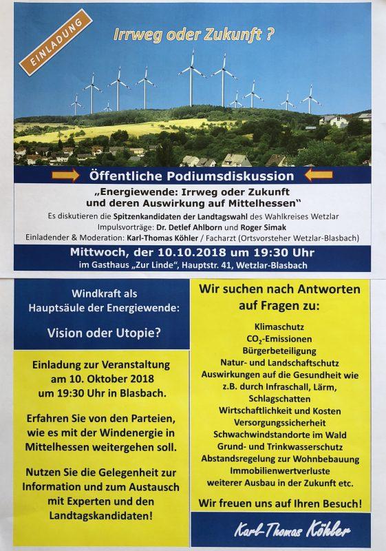 """Wetzlar: Podiumsdiskussion """"Energiewende – Irrweg oder Zukunft"""" - Mittwoch, 10. Oktober 2018 um 19:30 Uhr Gasthaus zur Linde, Hauptstraße 41 35585 Wetzlar-Blasbach"""