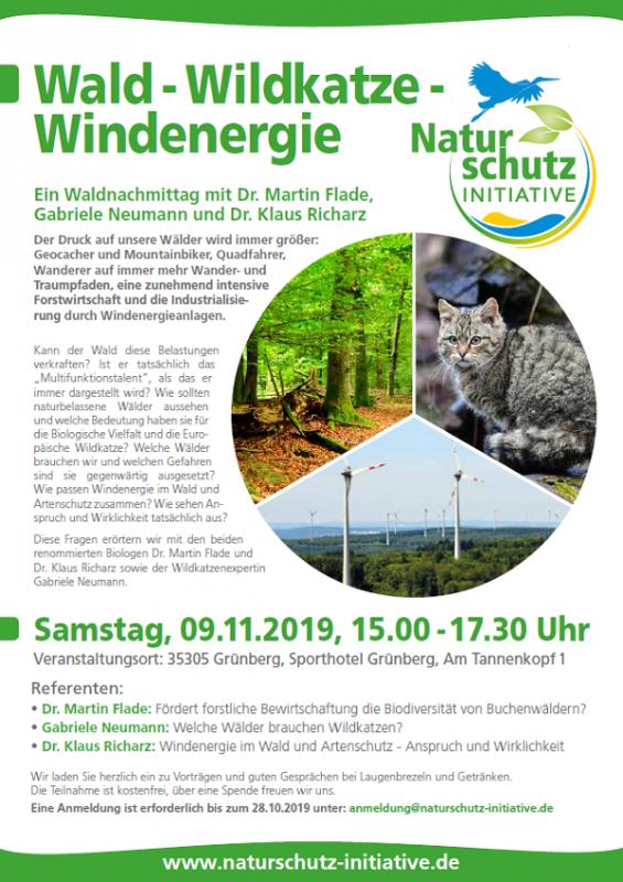 Wald Wildkatze Windenergie - Naturschutzinitiative e. V. am 09.11.2019 in Grünberg (Anmeldung bitte bis 28.10.2019)